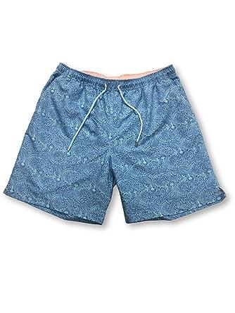 78fe20ddcb Amazon.com: PETER MILLAR Summer Paisley Swim Shorts in Blue Size XL ...