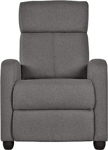 YAHEETECH Fabric Recliner Sofa Modern Single Recliner Sofa Home Theater Seating