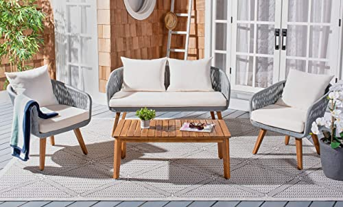 Safavieh PAT7073A Outdoor Prester Rope 4-Piece Seat Cushions and Pillows Included Patio Set, Grey Beige