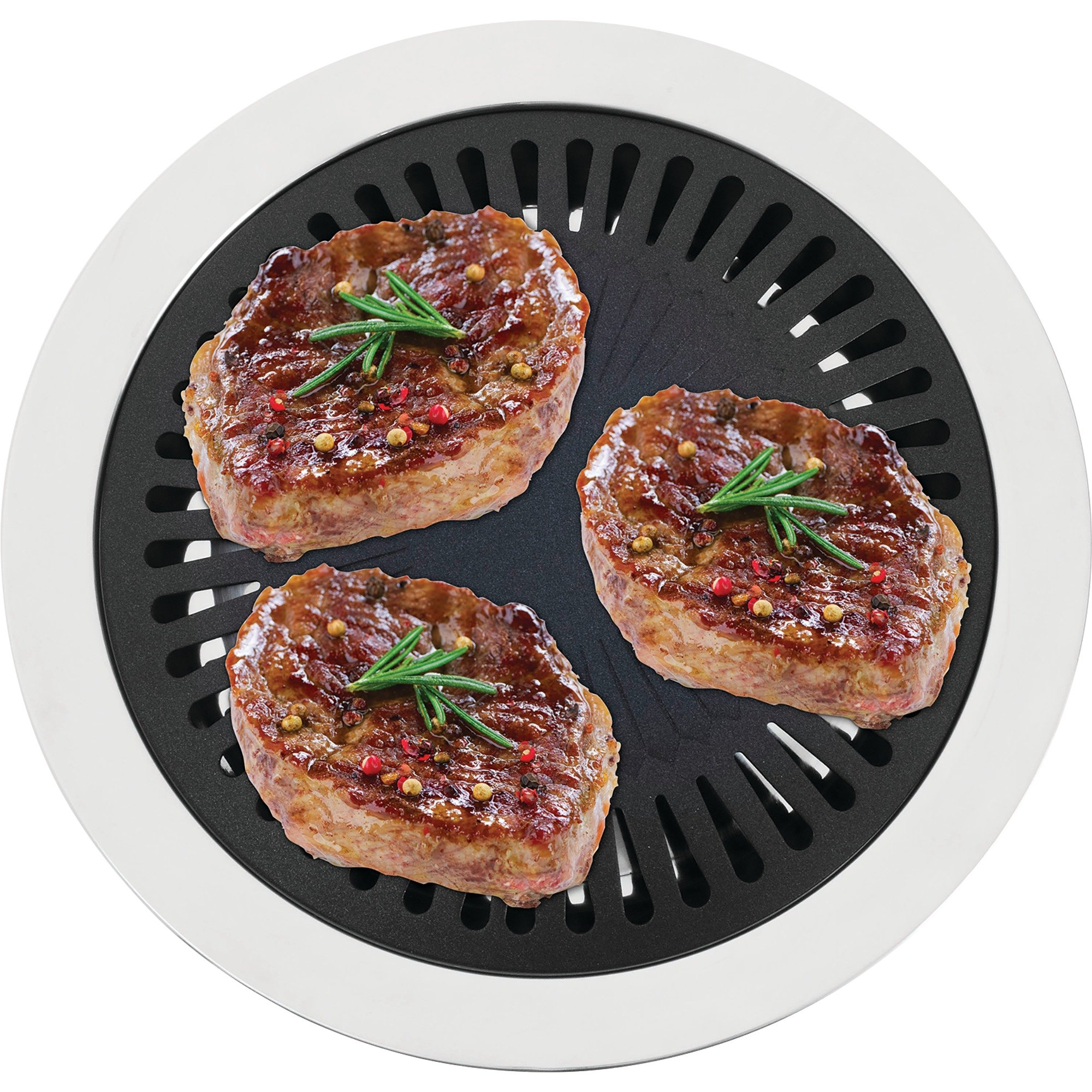 Chef's Secret 2 Piece Non-Stick Aluminum Indoor Stovetop Grill with Stainless Steel Base by Chef's Secret