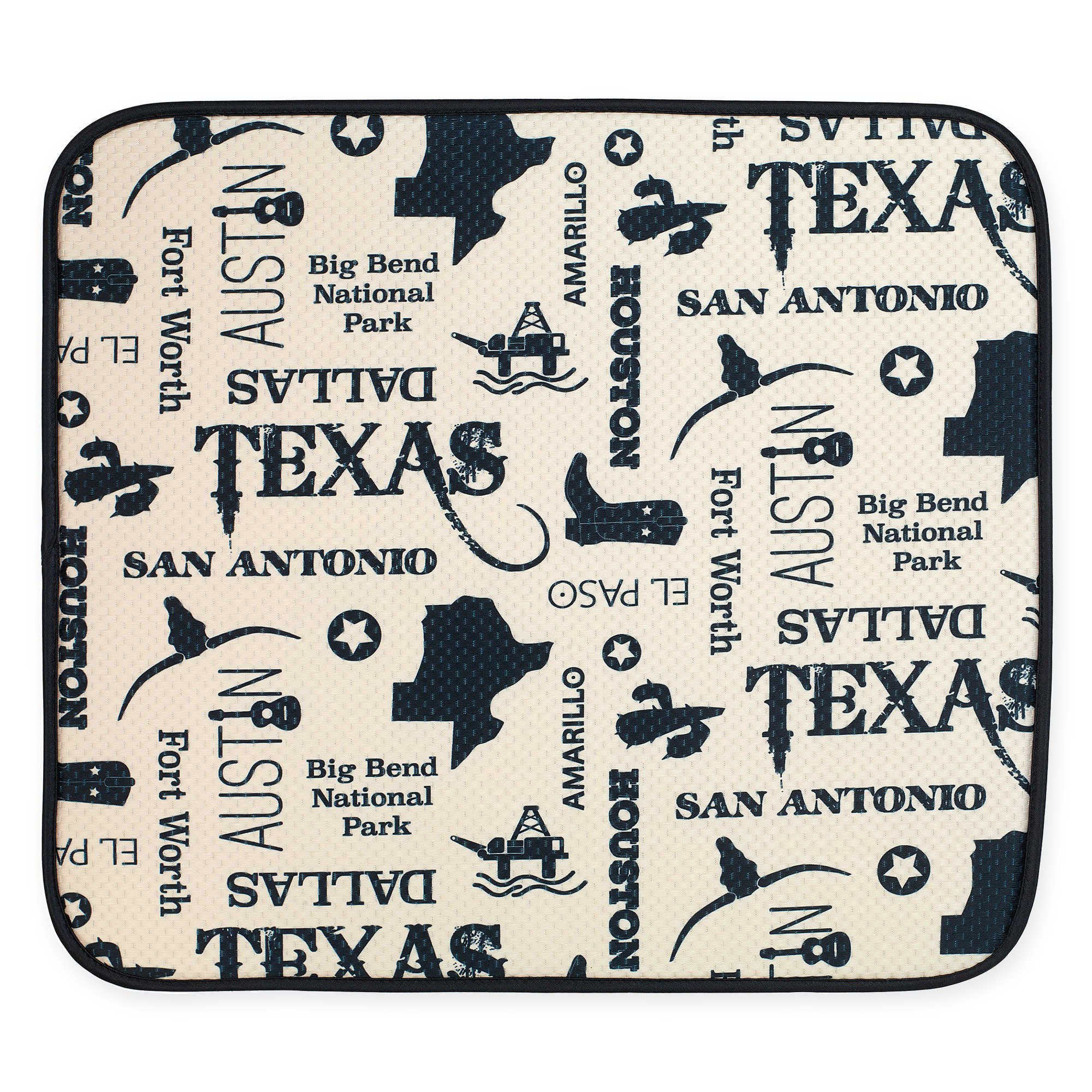 Schroeder & Tremayne The Original Dish Drying Mat with Texas Print in Cream/Black 16 Inches x 18 Inches by The Original