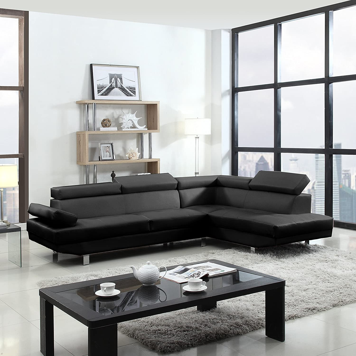 Amazon.com 2 Piece Modern Contemporary Faux Leather Sectional Sofa Kitchen u0026 Dining : leather sectional sofa bed - Sectionals, Sofas & Couches