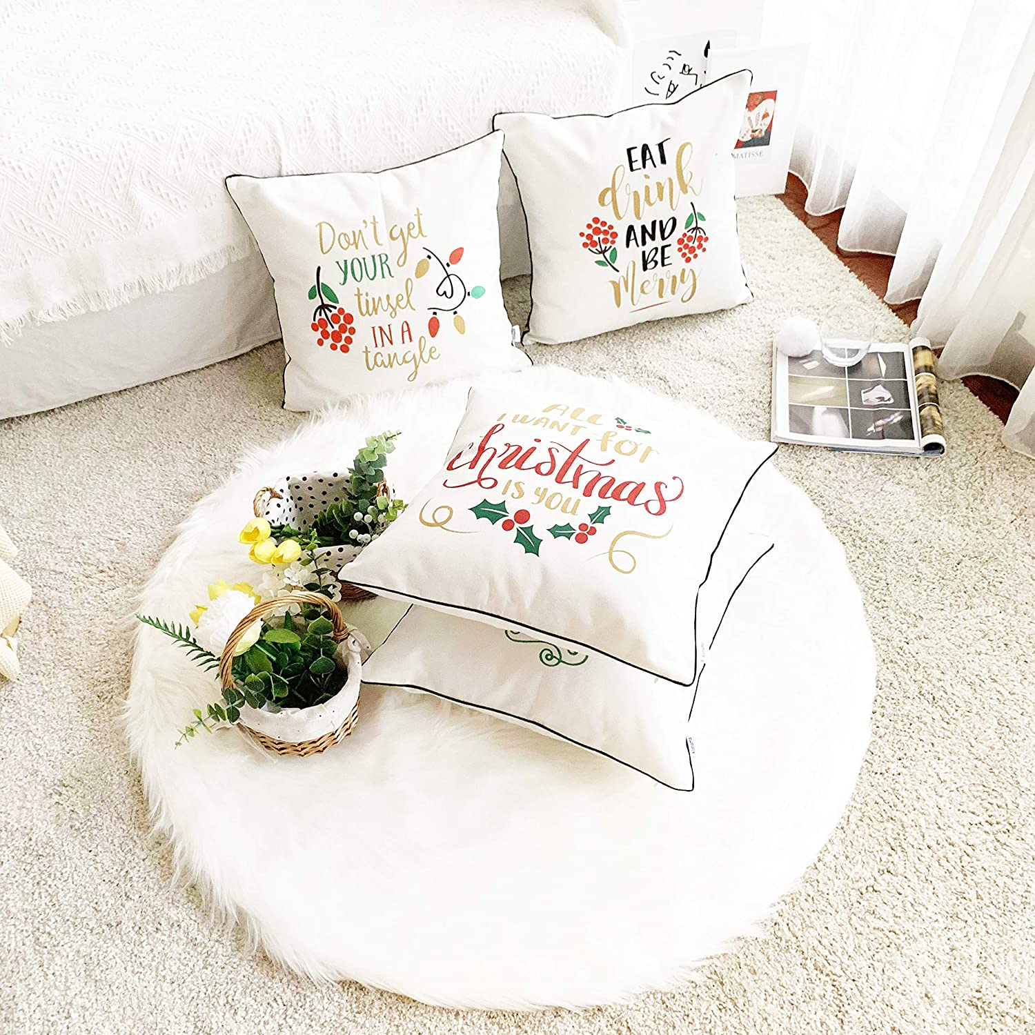 Alimama,Cotton Linen Digital Printed Geometric Pillowcases 18 x 18 Inch with Meaningful Pastoral Colors with Piping for Soft Home Decorate Cushion Covers Sham Aqua Pack with 6 Pcs 45x45cm