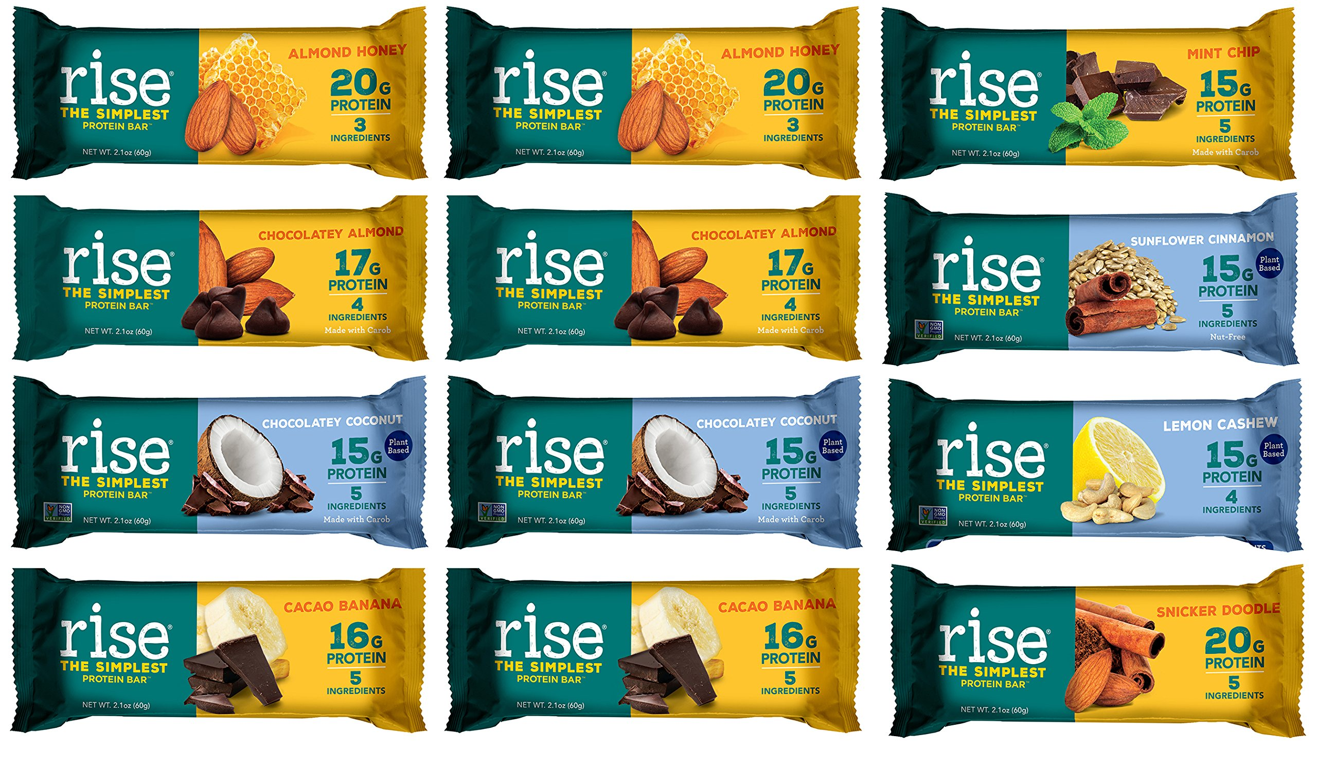 Rise Bar All 8 Flavors Variety Pack w/ 2 Almond Honey 2 Chocolatey Almond 2 Cacao Banana 2 Chocolatey Coconut 1 Mint Chip 1 Sunflower Cinnamon 1 Lemon Cashew 1 Snickerdoodle, 2.1 oz, Pack of 12