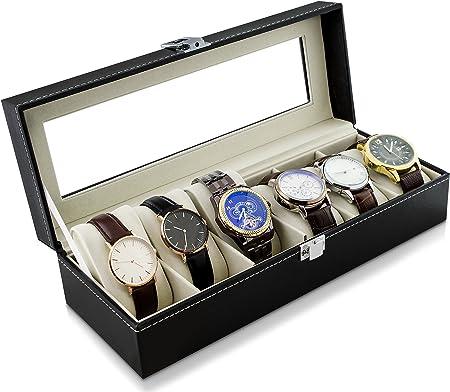 Estuche para guardar 6 relojes - Negro 30 x 12 x 8 cm - Reloj Presentación Organizador del reloj - Grinscard: Amazon.es: Hogar
