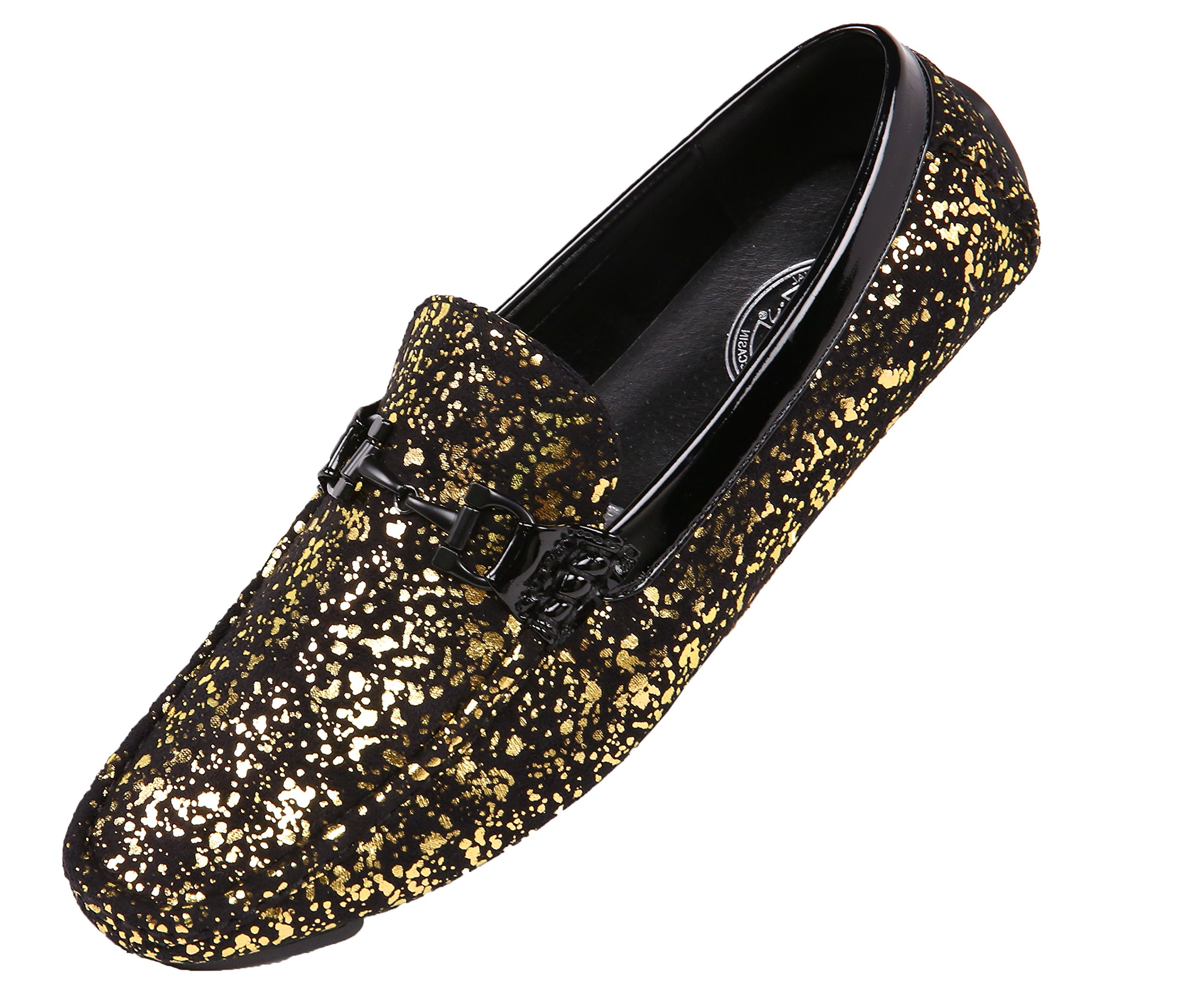 Amali Mens Metallic Splatter Black Microfiber Nightclub Driver, Slip On Loafer Driving Shoe with Ornament