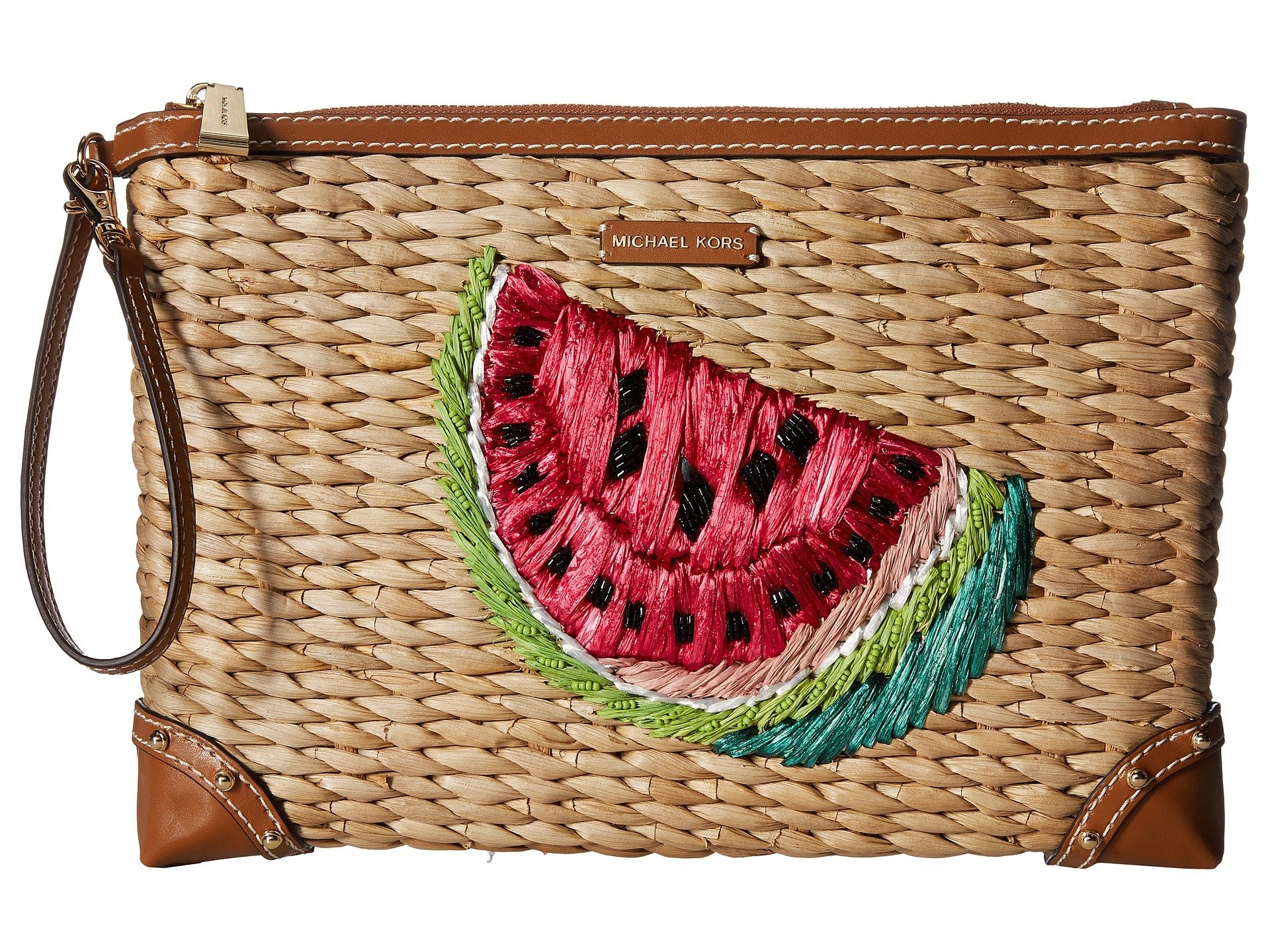 Michael Kors Extra Large Woven Malibu Watermelon Zip Clutch, Natural/Ultra Pink