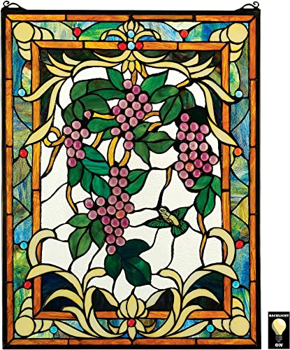 Stained Glass Panel – The Grape Vineyard Stained Glass Window Hangings – Window Treatments