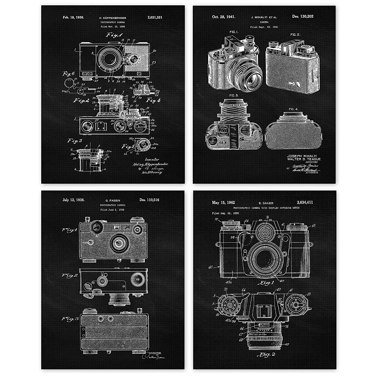 Vintage Classic Camera Patent Poster Prints, Set of 4 (8x10) Unframed Photos, Wall Art Decor Gifts Under 20 for Home, Office, Garage, Man Cave, School, College Student, Teacher, Photography Fan