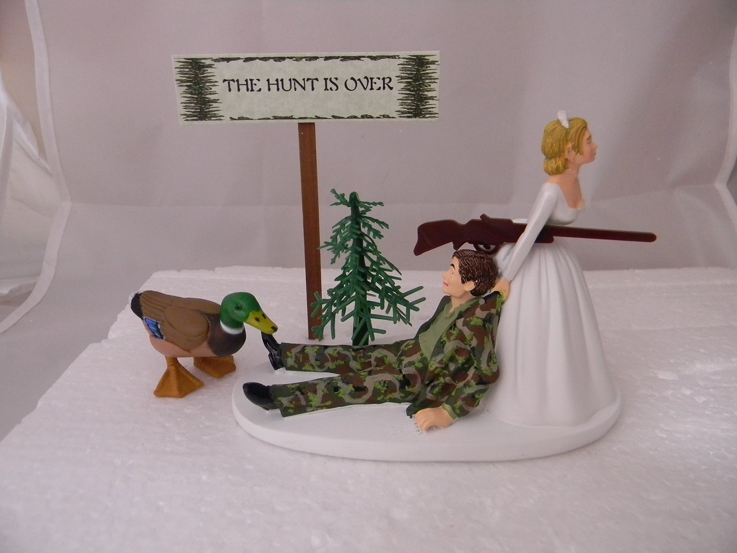 Wedding Reception Party Hunt Over Sign Duck Fowl Hunter Hunting Cake Topper