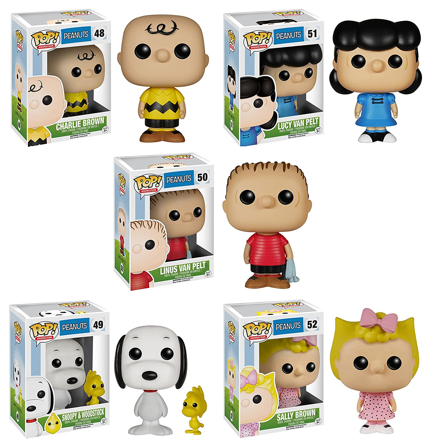 divertimentoko Peanuts POP  TV Collectors Set  Charlie, Lucy, Stuttiy, Linus, Snoopy & Woodstock azione cifra by divertimentoKo