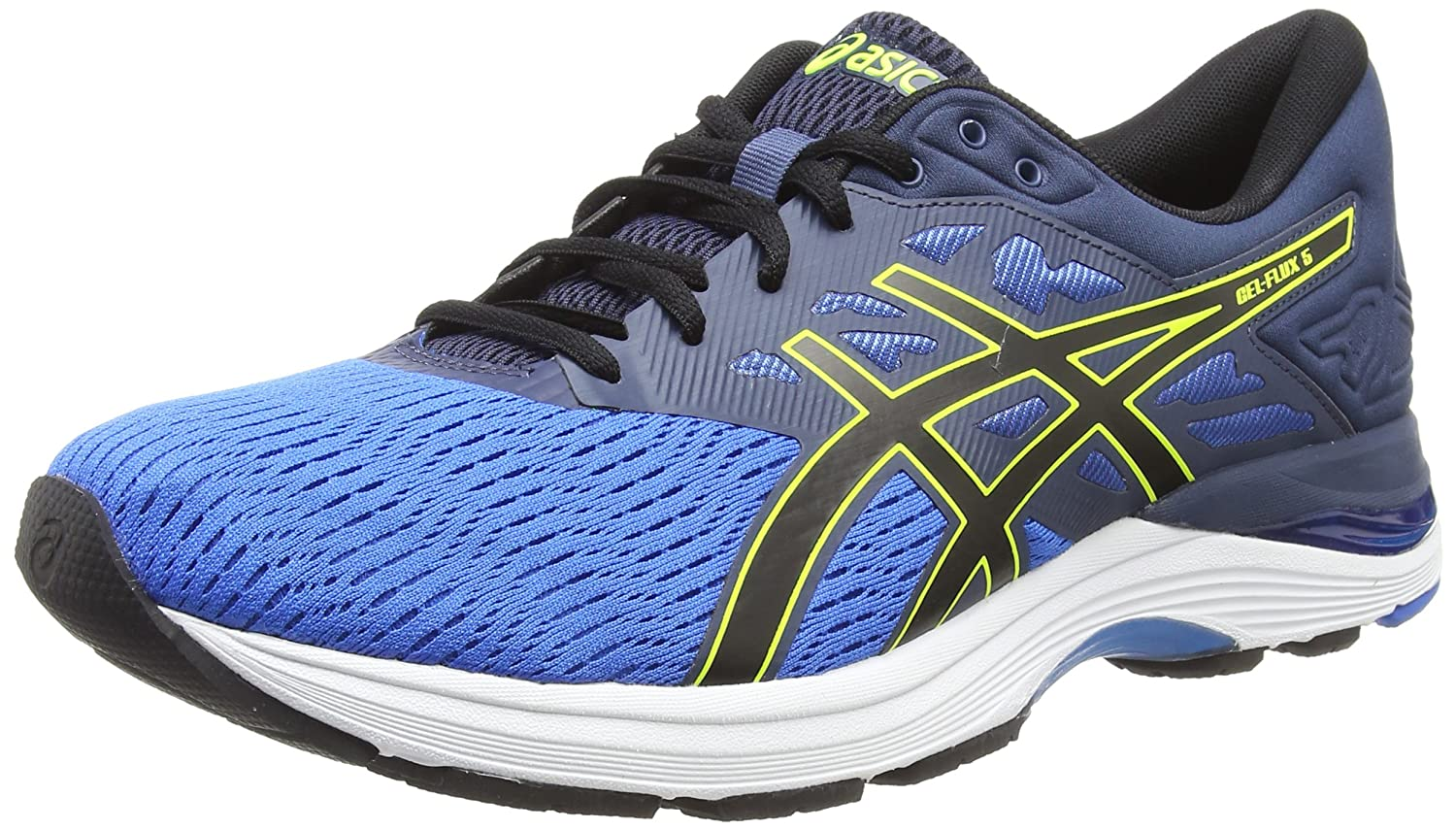 Asics Gel-Flux 5, Zapatillas de Running para Hombre 45 EU|Multicolor (Directoire Blue/Black/Safety Yellow 4390)