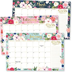 Pink & Teal Floral 2021-2022 Desk Calendar, Large Monthly Wall Planner, 18 Month Academic Desktop Calendar or Fridge Planning Blotter Pad, Notes Section for Teacher, Family or Business Office 11x17