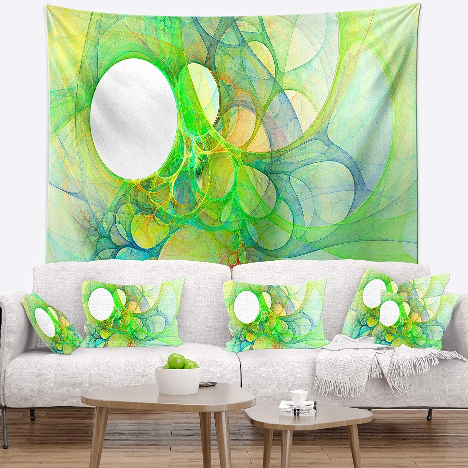 39 x 32, Medium Designart TAP16022-39-32 Fractal Angel Wings in Green Abstract Blanket D/écor Art for Home and Office Wall Tapestry