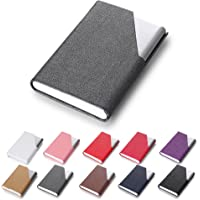 Efaithtek Professional Business Card Holder Business Name Card Holder Luxury PU Leather & Stainless Steel Multi Card Case - Keep Your Business Cards Clean(Gray)