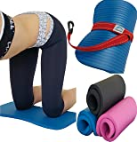 "SISYAMA Knee Pad Cushion Yoga Exercise Workout w/Sling 20""x10""x15mm Thick Mini Mat"