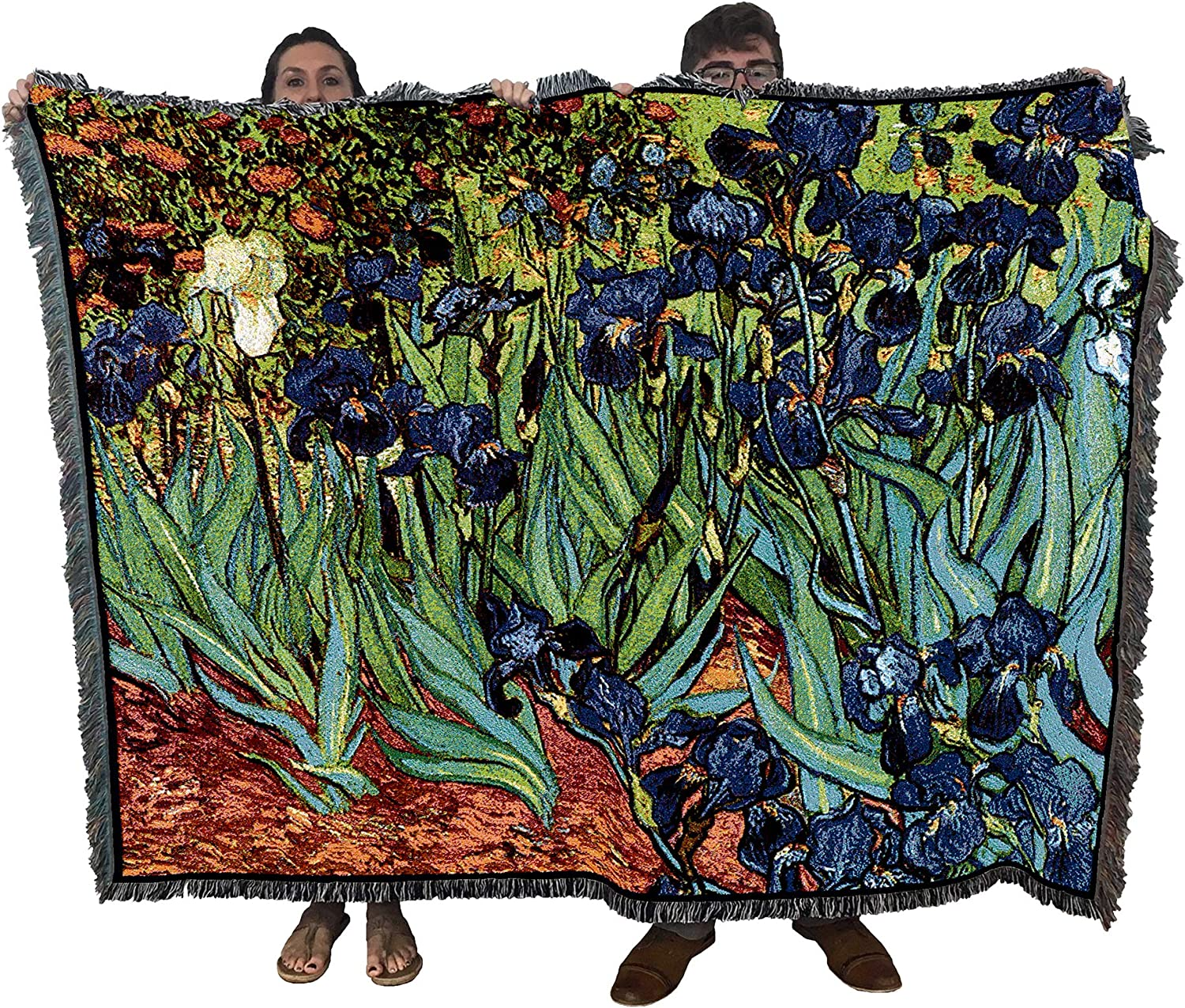 Pure Country Weavers Irises by Vincent Van Gogh Blanket Throw Woven from Cotton - Made in The USA (72x54)
