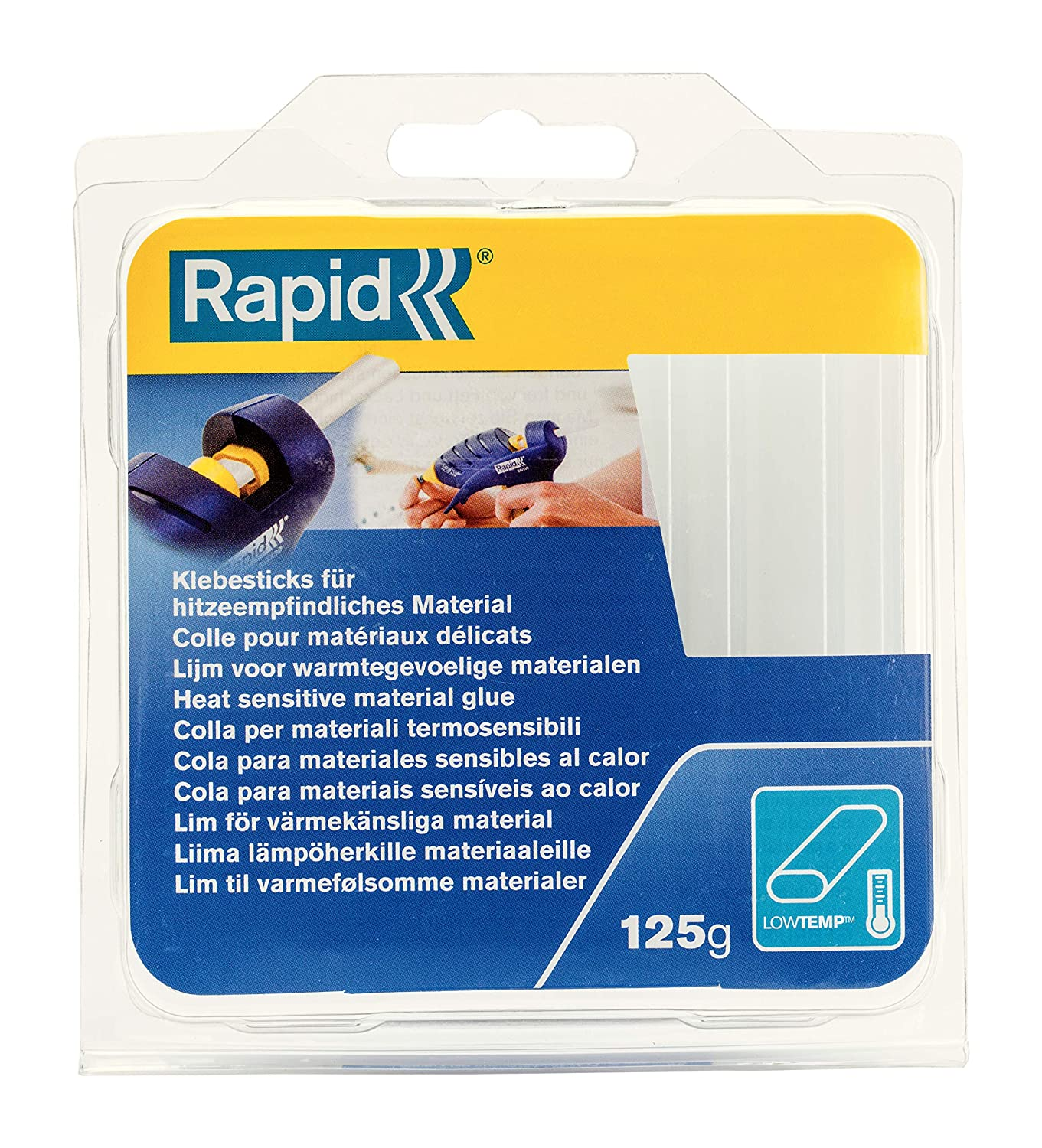 Rapid Multipurpose Transparent and Oval Hot Glue Sticks for Heat Sensitive Objects, Length: 94 mm, 125 g, 40107349