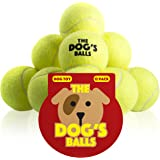 The Dog's Balls - 12 Dog Tennis Balls – Premium, Strong, Dog Ball Dog Toy for Dog Training, Dog Play, Dog Exercise and Dog Fetch. Tough Dog Balls for Chuckit Launchers. Bouncy Tennis Ball for Your Puppy too, No Dog Toy Squeaker, The King Kong of Dog Balls! Held in a Drawstring Carry Bag - Woof Woof:)