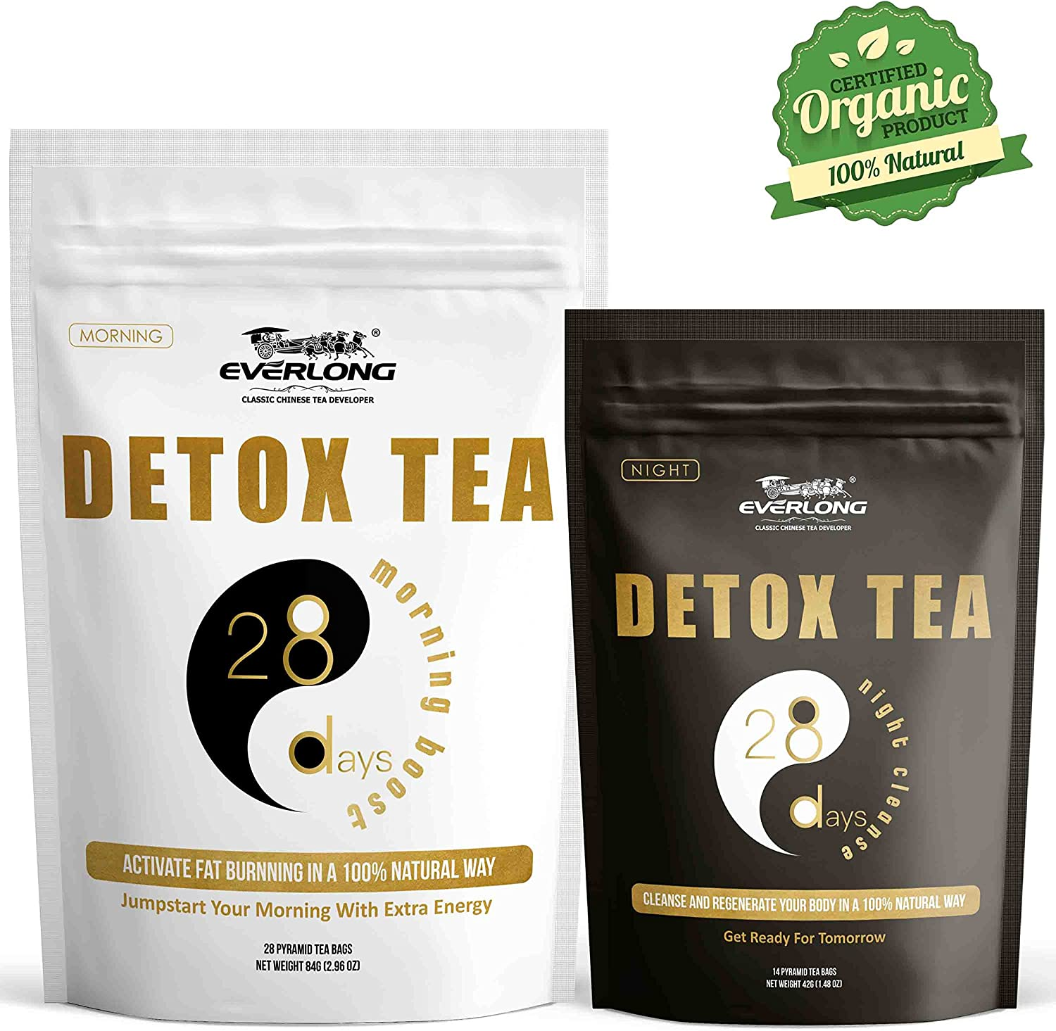 Everlong Detox Tea V2.0 – Enhanced 28 Day Ultimate Teatox Morning Boost Night Cleanse -Burn Fat, Reduce Bloating, Accelerate Weight Loss-Comprehensive Solution to Regenerate Your Body In Natural Way