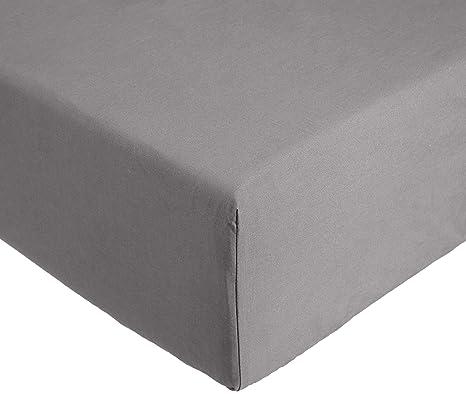 AmazonBasics Everyday - Sábana bajera ajustable (100% algodón) Gris oscuro - 90 x