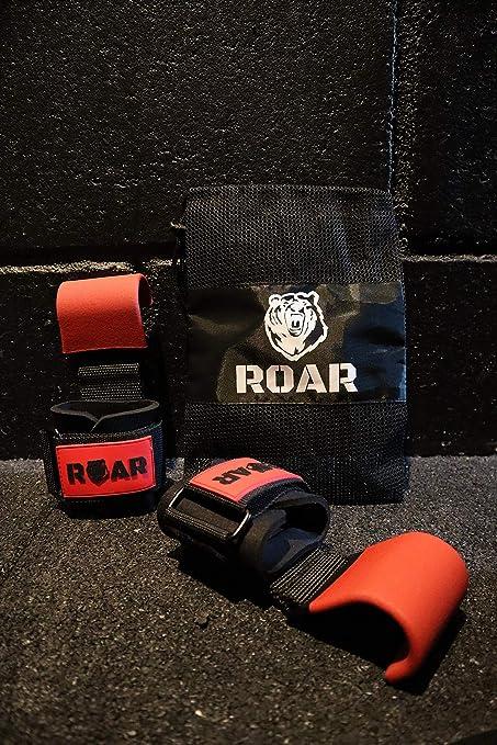 Roar/® Crochets de Levage de Poids avec Sac Sangles de Gripper Gants Dentra/înement Bodybuilding Halt/érophilie Gym Straps Deadlift