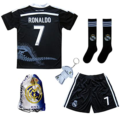 cheaper e4ae8 a3199 GamesDur Real Madrid Ronaldo #7 Black Dragon Soccer Kids Jersey & Short &  Sock & Soccer Bag Youth Sizes