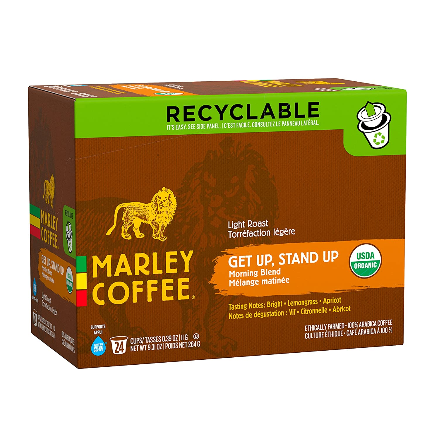 Marley Coffee Get Up Stand Up Organic Light Roast Single Serve