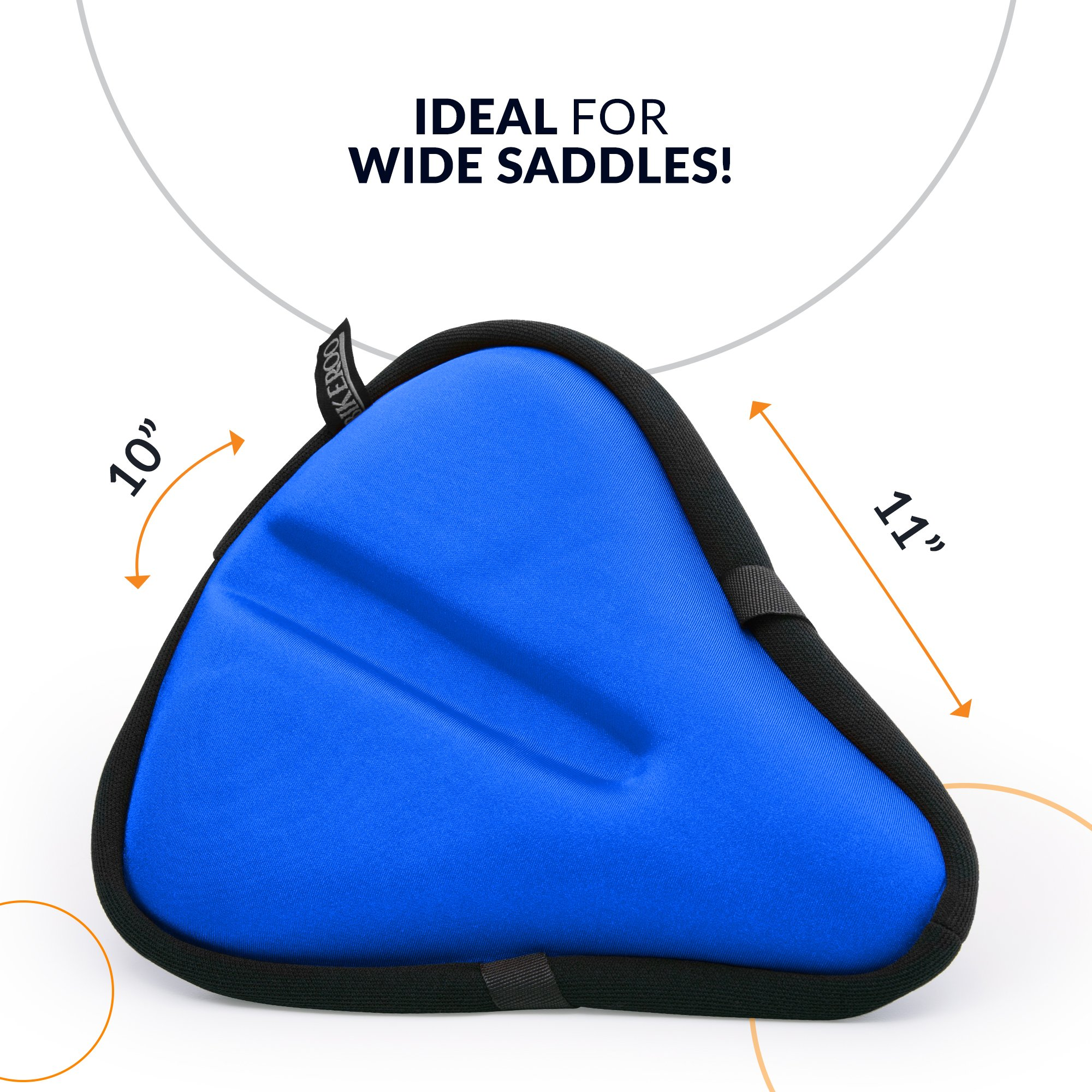 Large Exercise Bike Seat Cushion - Bicycle Wide Gel Soft Pad 10 inches x 11 inches - Most Comfortable Bicycle Saddle Cover for Women and Men - Bike Seat Gel Cover Fits Cruiser and Stationary Bikes by Bikeroo (Image #3)