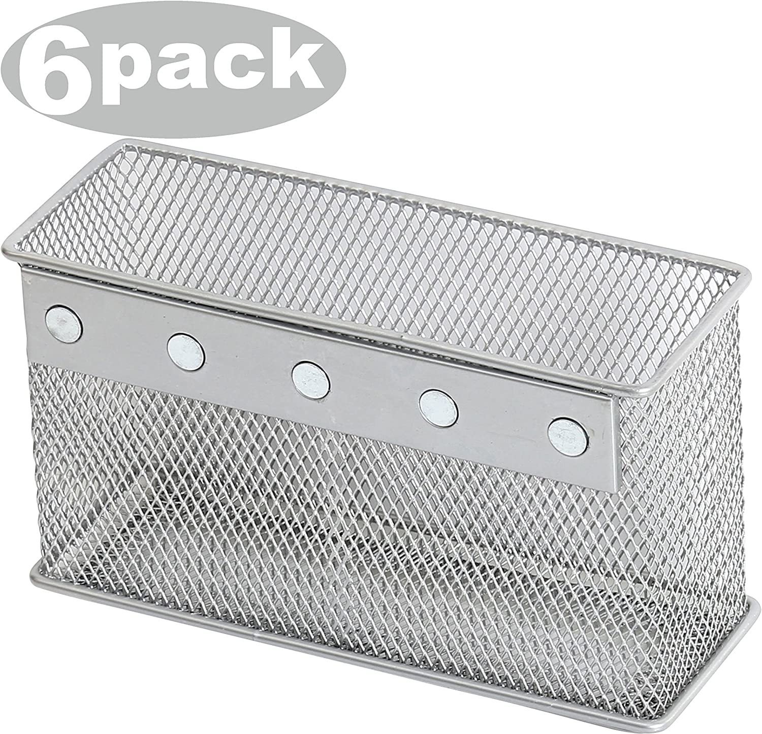 Ybmhome Wire Mesh Magnetic Storage Basket, Container, Desk Tray, Office Supply Accessory Organizer Silver for Refrigerator/Microwave Oven or Magnetic Surface in Kitchen or Office 2305-6 (6, Large)