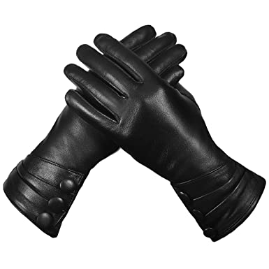 474878bfe6bce Women Real Leather Gloves, Full-Hand Thermal Insulated Lined Soft ...