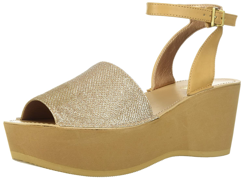 Kenneth Cole REACTION Women's Dine with Me Eva Platform Ankle Strap Wedge Sandal B076BS71KM 7.5 B(M) US|Rose Gold