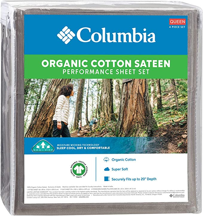 Amazon Com Columbia Organic Cotton Sateen Weave Performance Sheet