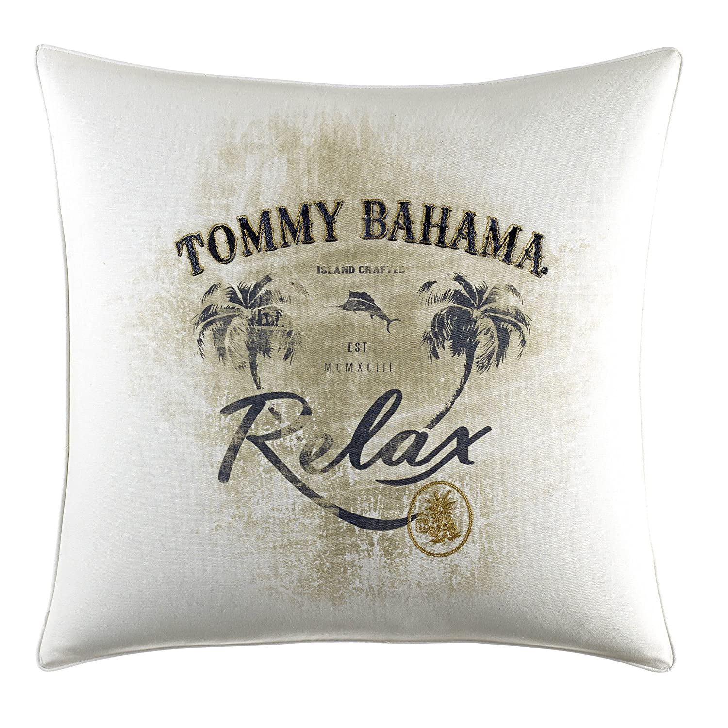 Tommy Bahama Palms Away Relax Print Throw Pillow, 20x20, Light Beige