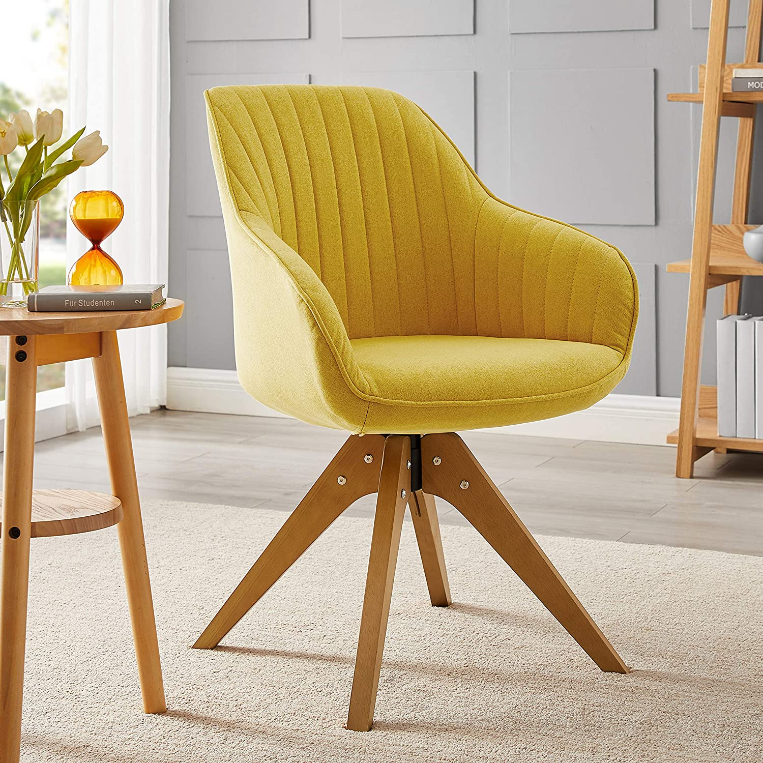 Art Leon Mid-Century Modern Swivel Accent Chair Medium Yellow with Wood Legs Armchair for Home Office Study Living Room Vanity Bedroom