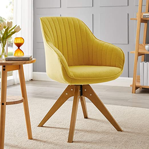 Amazon Com Art Leon Mid Century Modern Swivel Accent Chair Medium Yellow With Wood Legs Armchair For Home Office Study Living Room Vanity Bedroom Kitchen Dining