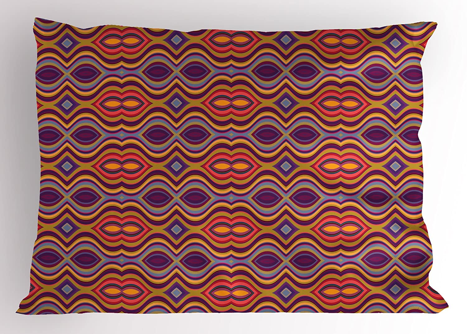 Psychedelic sham by ambesonne colorato curvy forma ovale trippy
