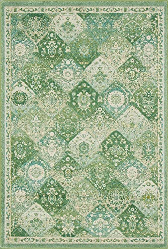 Unique Loom Penrose Collection Distressed Traditional Vintage Green Area Rug 5 3 x 7 7