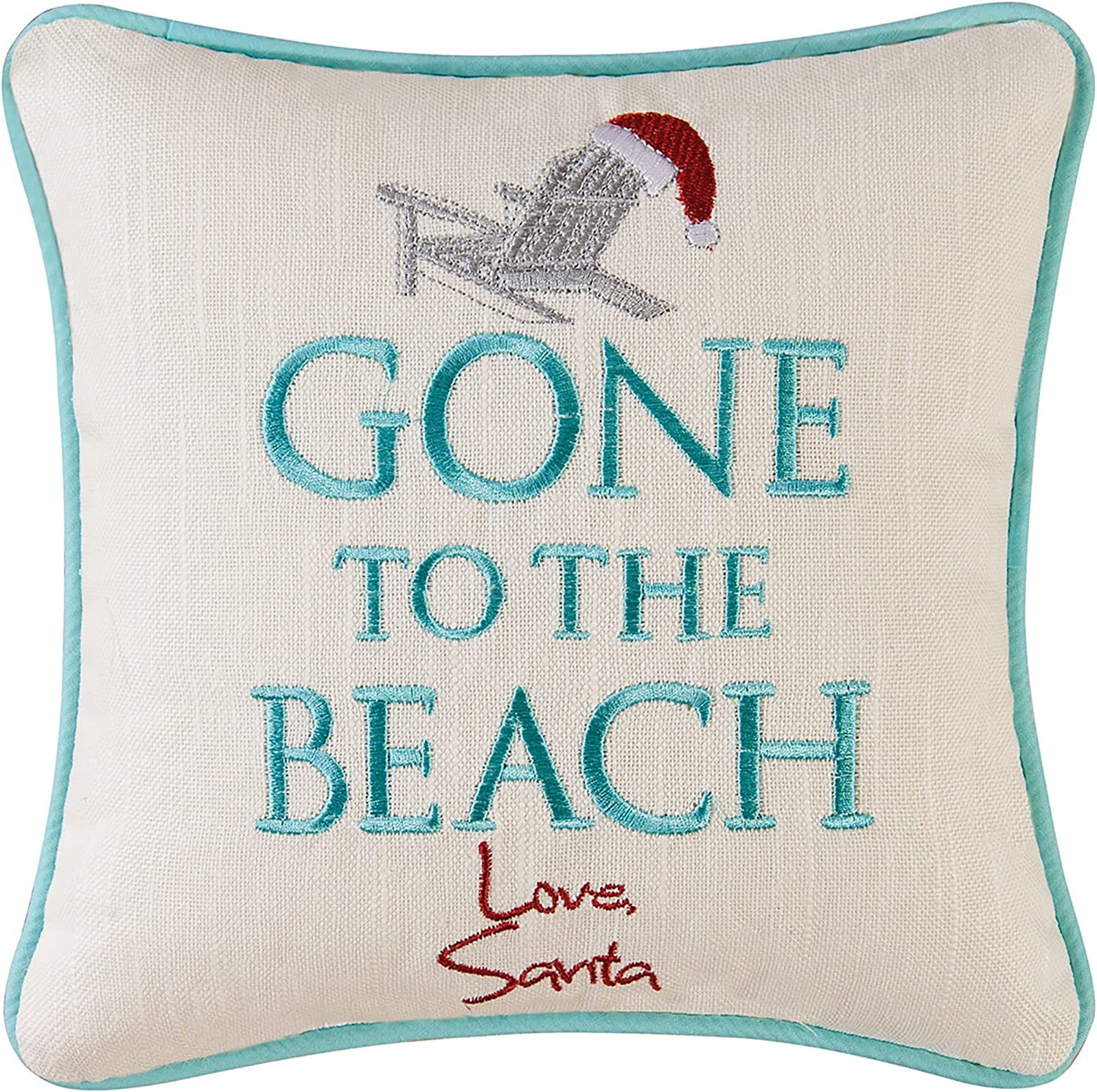 C F Home Gone To The Beach Love Santa Coastal Holiday Embroidered Saying Decorative Accent Pillow 10 X 10 Multi Home Kitchen