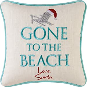 C&F Home Gone to The Beach Love Santa Coastal Holiday Embroidered Saying Decorative Accent Pillow 10 x 10 Multi