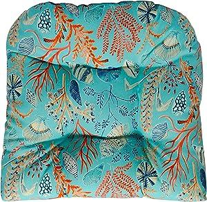 RSH DECOR Wicker Tufted U Chair Cushion ~ Blue, Peach, White, Cream, Orange, Coral, & Red ~ Ocean Life ~ Coastal ~ Coral Reef