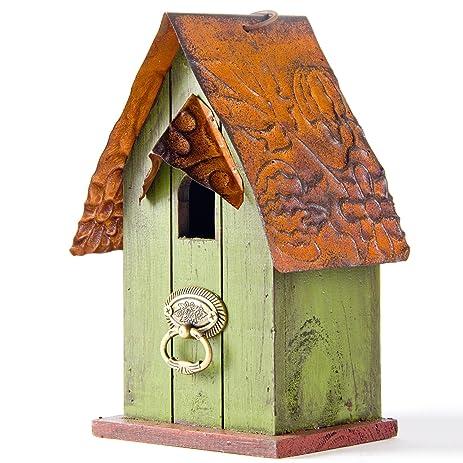 glitzhome 10h rustic garden distressed wooden decorative bird house