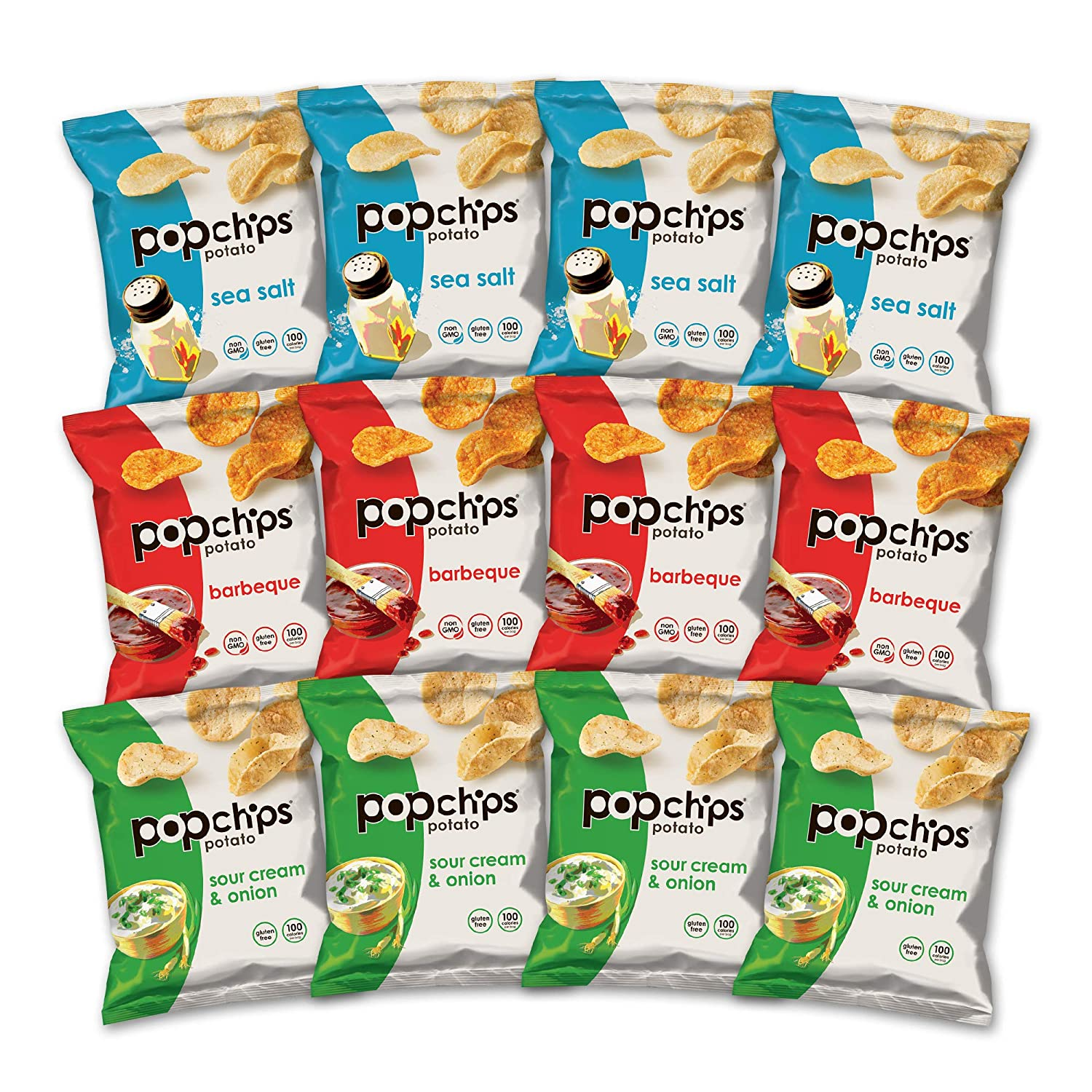 popchips Potato Chips Variety Pack Of 0.8 Oz Bags Flavors In 4 Sea Salt/4 BBQ/4 Sour Cream Onion, 12 Count