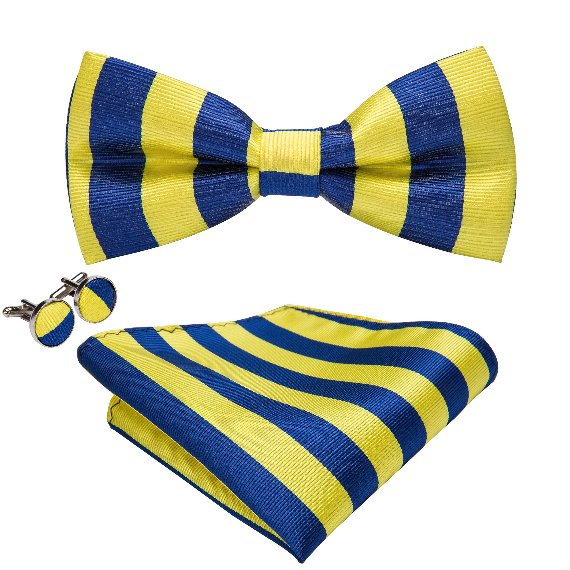 Stripe Bow Tie Set Blue Woven Silk Wedding Party Fashion Business
