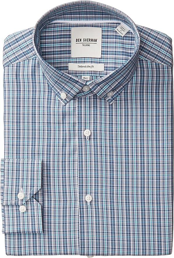 Ben Sherman - Camisa de vestir para hombre, cuello abotonado, corte ajustado, a cuadros - Azul - 44 cm Cuello 86 cm- 89 cm Manga: Amazon.es: Ropa y accesorios