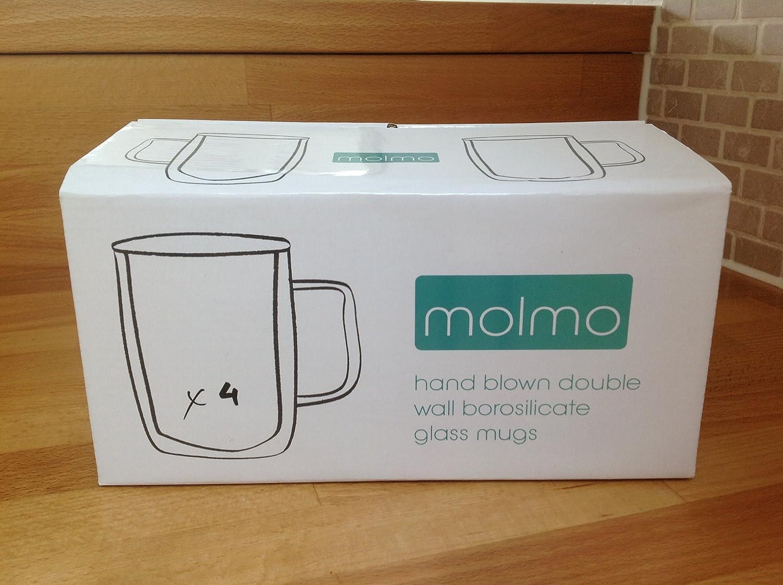 4 x Skye - double wall Bistro Glass Mugs - Coffee / Tea - 300ml - SALE PRICE! molmo SYNCHKG048907
