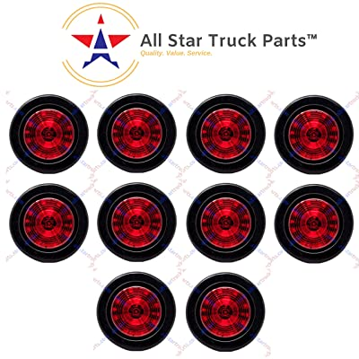"Qty 10-2.5"" Round 12 LED Red Light Truck Trailer Side Marker Clearance Grommet Kit: Automotive"