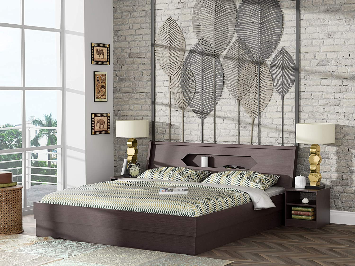 Stylespa Cove King Size Bed with Headboard Storage (Bamboo)