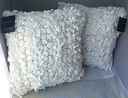 Set Of Two 40 Cynthia Rowley Textured Pebble Ruffle Flounce Cream Extraordinary Cynthia Rowley Decorative Pillows