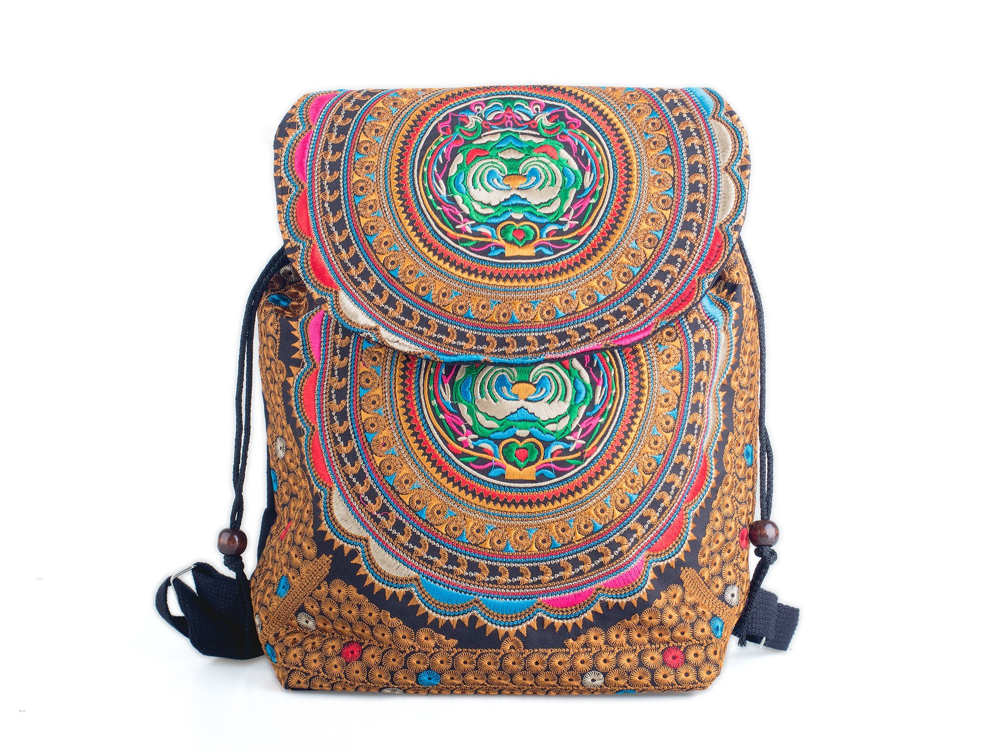 Changnoi School Backpack With Hmong Embroidered Handmade Thailand Fair Trade